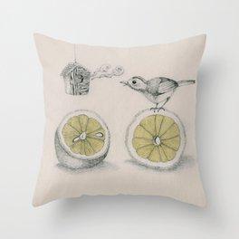 Lemon bird Throw Pillow