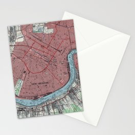 Vintage Map of New Orleans Louisiana (1954) Stationery Cards
