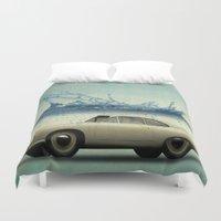 porsche Duvet Covers featuring deep water porsche by Vin Zzep