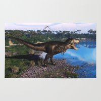 trex Area & Throw Rugs featuring Tyrannosaurus 2 by Simone Gatterwe