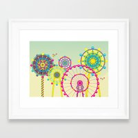 ferris wheel Framed Art Prints featuring Ferris Wheel by Jing Zhang's illustrations