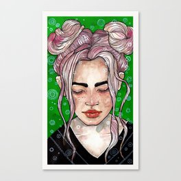 Girl in green Canvas Print