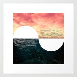 Sunset Moon Horizon Art Print