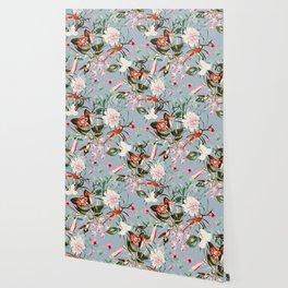 Hummingbird in vintage bloom Wallpaper