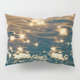 Sparkling Ocean in Gold and Navy Blue Pillow Sham