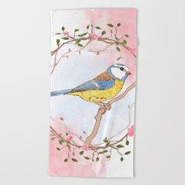 Bird and flowers Beach Towel