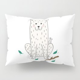 illustration of white dog playing Pillow Sham