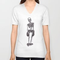 skeleton V-neck T-shirts featuring skeleton by CarlyK473