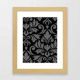 Flourish Damask Art I Gray on Black Framed Art Print