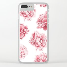 Pink Rose Garden on White Clear iPhone Case
