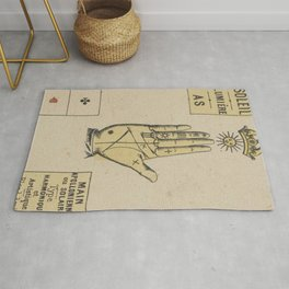 Vintage French Sun Tarot Card Rug