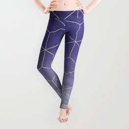 Geometric Marble Ultraviolet Purple Gold Leggings