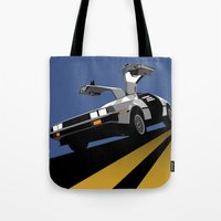 delorean Tote Bags featuring Delorean - Retro Poster; Blue by Geoff Ombao Car Art