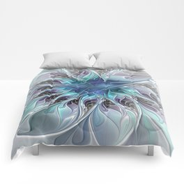 Flourish Abstract, Fantasy Flower Fractal Art Comforters