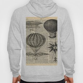 newspaper print victorian steampunk airship plane hot air balloon Hoody