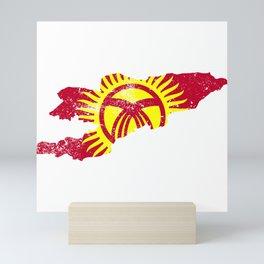 Distressed Kyrgyzstan Map Mini Art Print