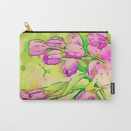 Retro Bright Spring Tulips  Carry-All Pouch