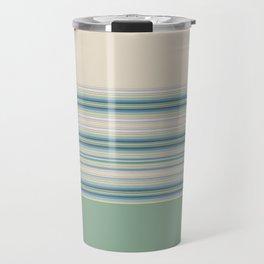 Mint Green Cream Stripes Travel Mug