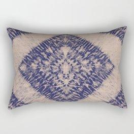 Indigo And Blush Toned Flower Shibori Tie Dye Rectangular Pillow