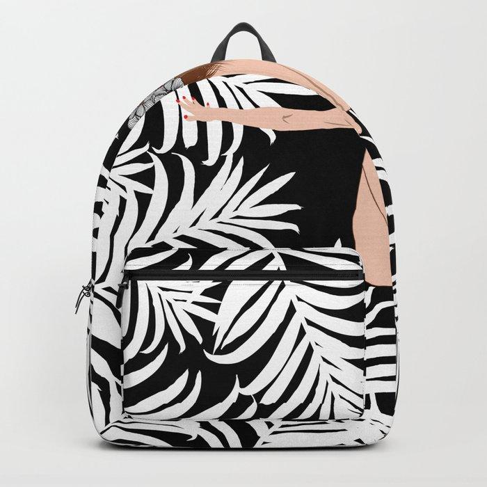 Black and white Botanical Design Backpack