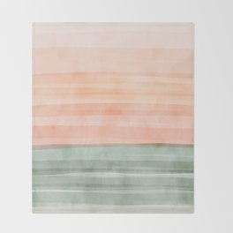 Green waves on a Peach Horizon, Geometric Abstract art_watercolor block pattern Throw Blanket