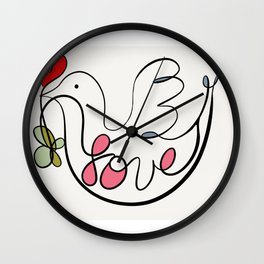 Peace Dove With Leaf and Heart Wall Clock