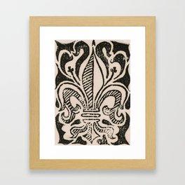 Distressed Fleur-de-Lis Framed Art Print