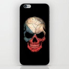 Dark Skull with Flag of Czech Republic iPhone Skin