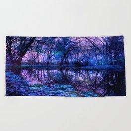 Enchanted Forest Lake Purple Blue Beach Towel