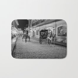 Vigan City, Philippines (black and white) Bath Mat