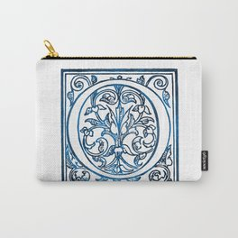 Letter O Antique Floral Letterpress Carry-All Pouch