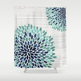 Blooms and Stripes, Aqua and Navy Shower Curtain