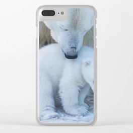 Polar Bear Mother and Cub portrait. Clear iPhone Case
