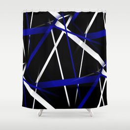 Seamless Royal Blue and White Stripes on A Black Background Shower Curtain