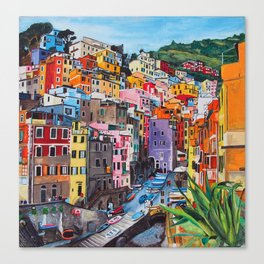 Cinque Terre, Italy - hillside with colourful houses and harbour  Canvas Print