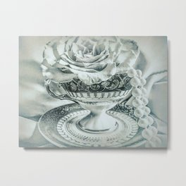 Rose Pearls Teacup Still Life Modern Cottage Chic Decor Art A482 Metal Print