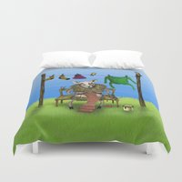 sheep Duvet Covers featuring Sheep by Anna Shell