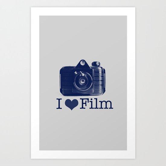 I ♥ Film (Grey/Navy) Art Print