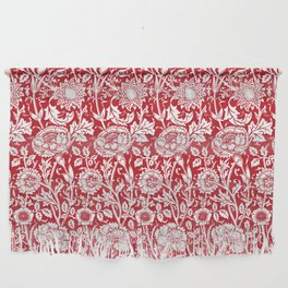 """William Morris Floral Pattern   """"Pink and Rose"""" in Red and White Wall Hanging"""