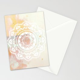 Warrior white mandala on pink Stationery Cards