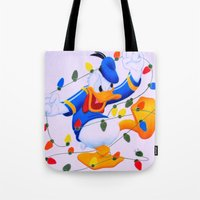 donald duck Tote Bags featuring Donald Duck Holidays by Brian David