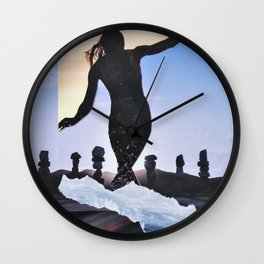 Surf's Up silloute Wall Clock