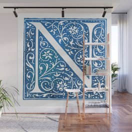 Letter N Antique Floral Letterpress Wall Mural
