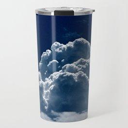 Puffy Cumulus clouds on Deep Blue Sky Travel Mug