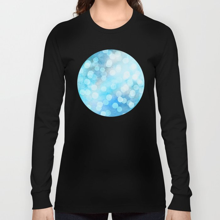 Turquoise Snowstorm - Abstract Watercolor Dots Long Sleeve T-shirt