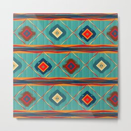 Southwestern Motif in Blue Metal Print