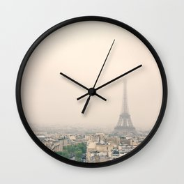 Eiffel Tower over soft peach background Wall Clock