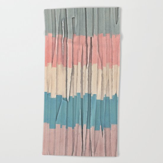 Colorful Grunge Stripes Beach Towel
