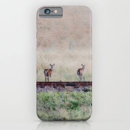 Little deers on a railway - Watercolor painting iPhone Case