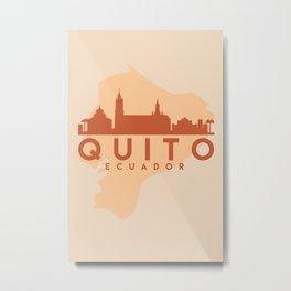 QUITO ECUADOR CITY MAP SKYLINE EARTH TONES Metal Print